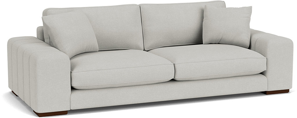 The Epping grand sofa in easy clean soft as cotton cambridge blue with dark oak feet