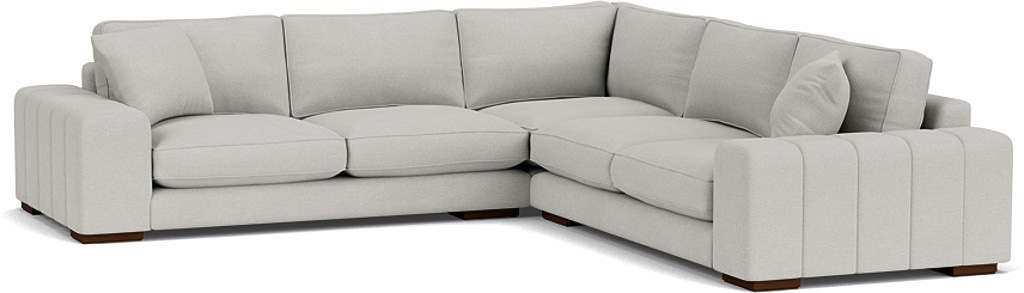 the epping large corner sofa in easy clean soft as cotton cambridge blue with dark oak feet