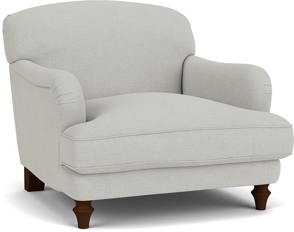 the evelyn chair in easy clean soft as cotton cambridge blue with dark oak feet