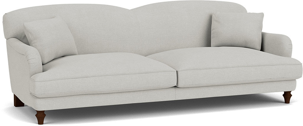 the evelyn grand sofa in easy clean soft as cotton cambridge blue with dark oak feet
