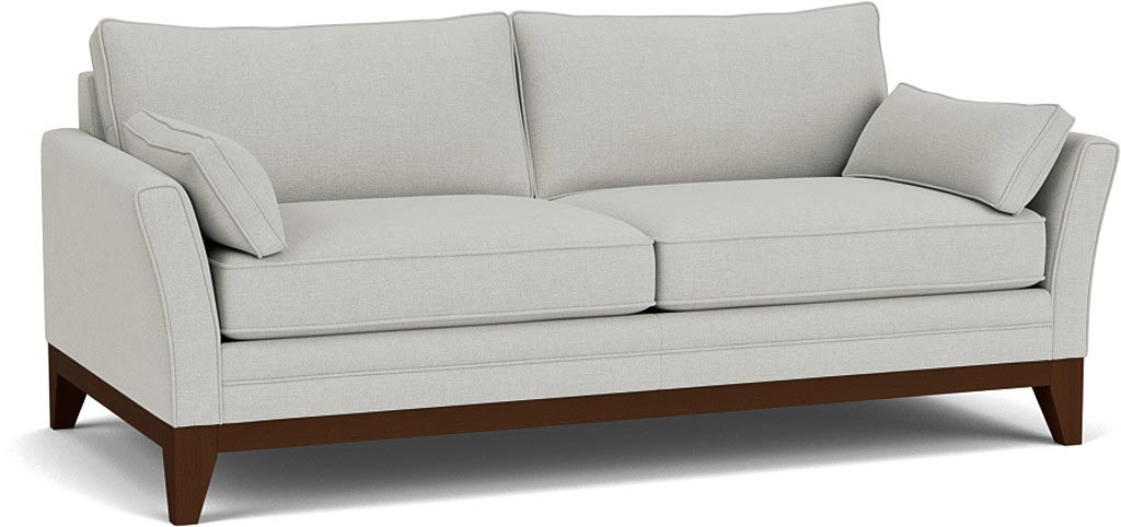 the exmouth 3.5 seater sofa in easy clean soft as cotton cambridge blue with dark oak feet