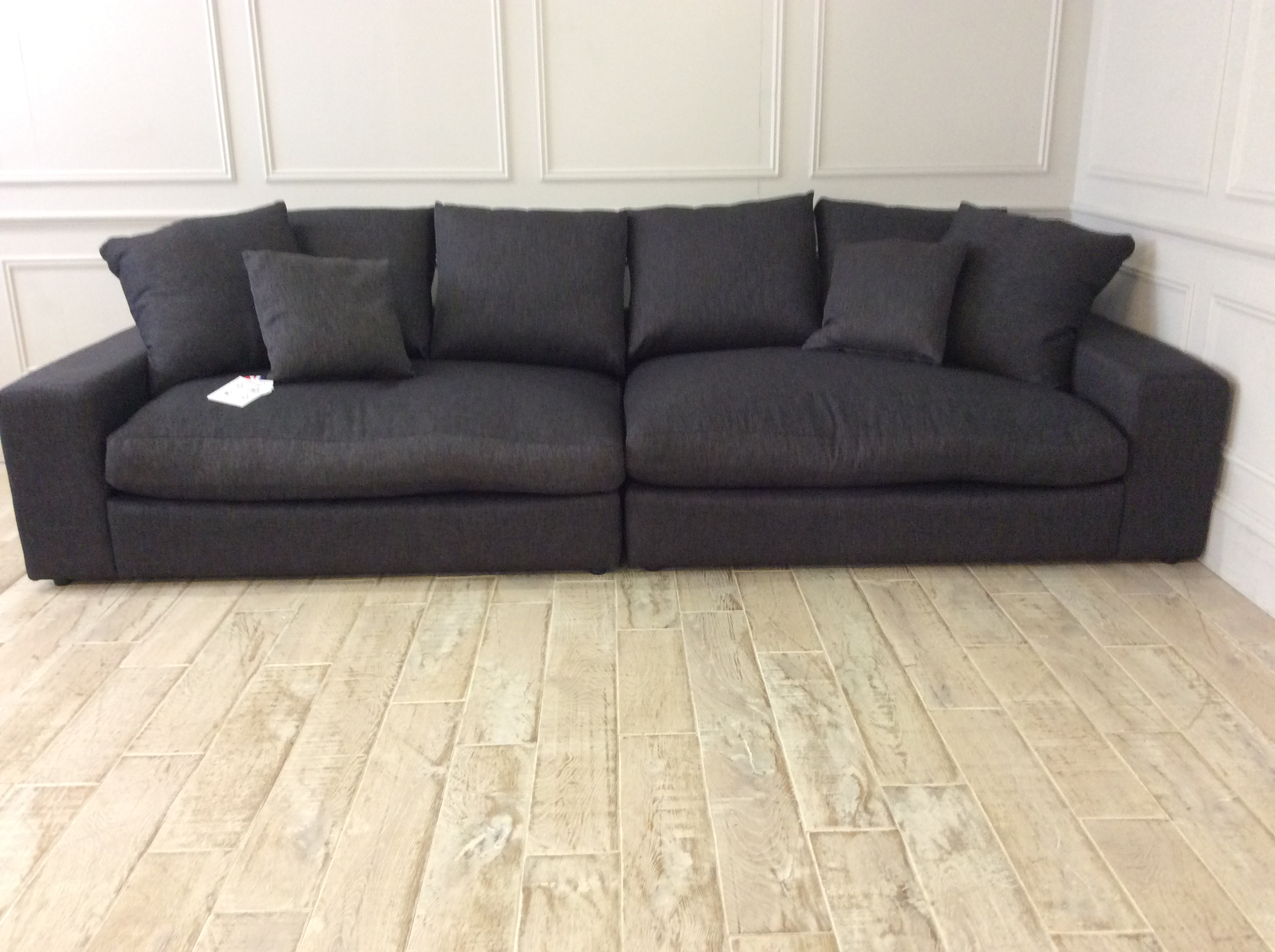 Product photograph showing Haymarket Extra Deep 5 Seater With Foot Stool In Stain Resistant Hardy Linen - Coal