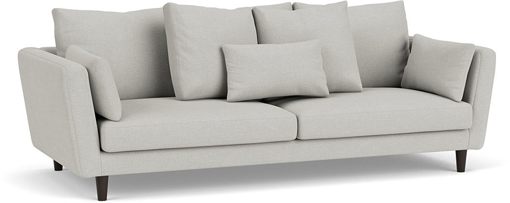 the amy large sofa in easy clean soft as cotton cambridge blue with dark oak feet