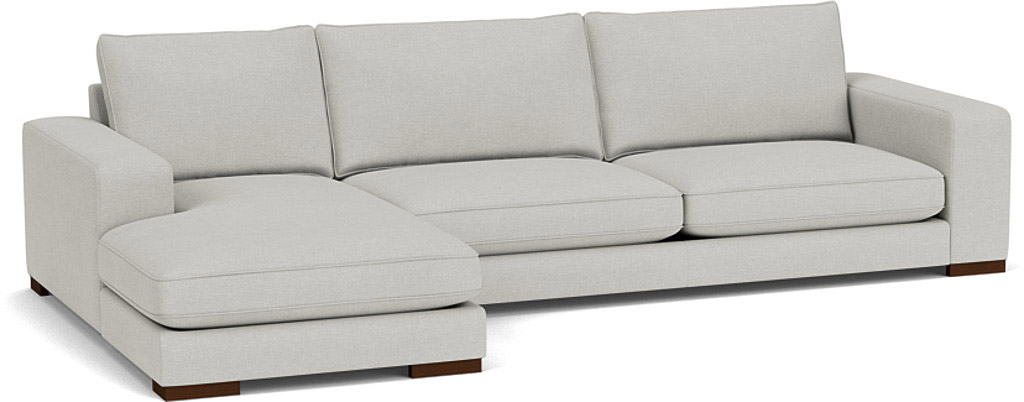 the ashdown left hand chaise sofa in easy clean soft as cotton cambridge blue with dark oak feet