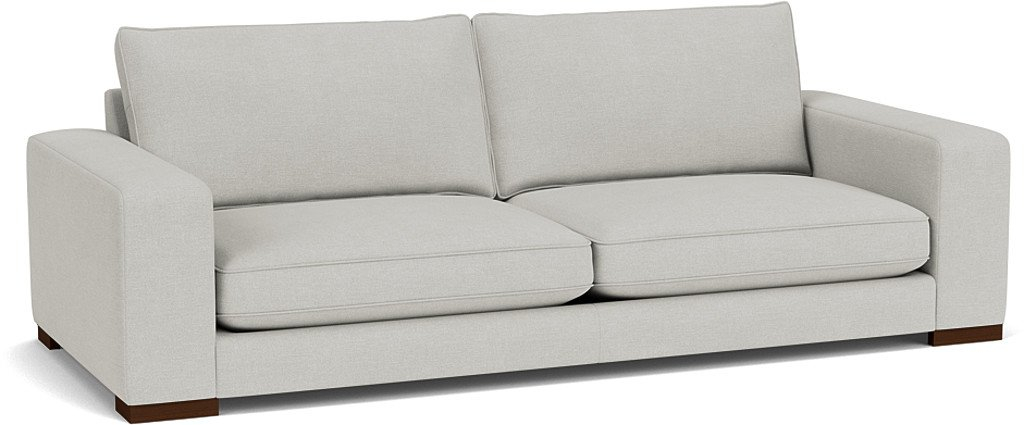 the ashdown grand sofa in easy clean soft as cotton cambridge blue with dark oak  feet
