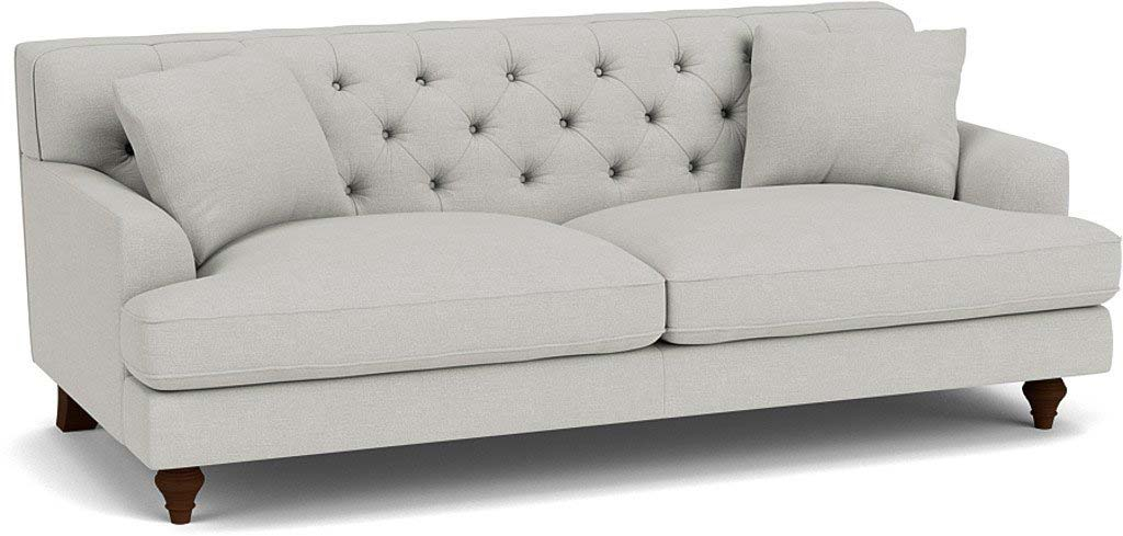 the charnwood large sofa in easy clean soft as cotton cambridge blue with dark oak feet