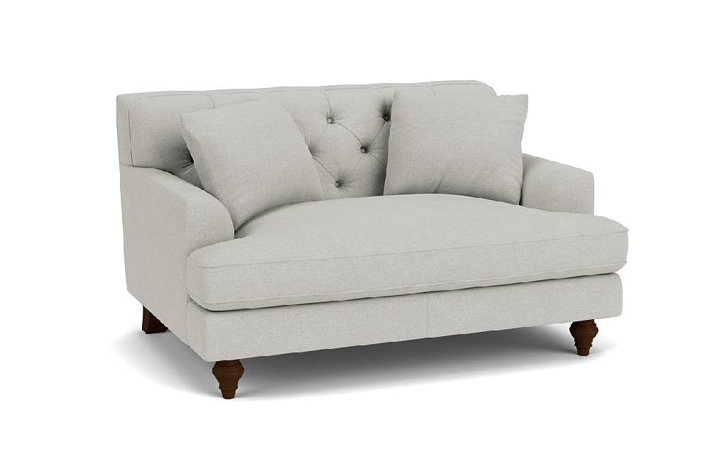 the charnwood loveseat sofa in easy clean soft as cotton cambridge blue in dark oak feet