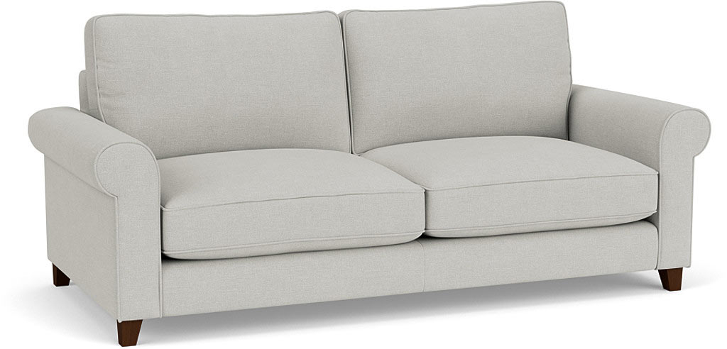 the dalby large sofa in easy clean soft as cotton cambridge blue with dark oak feet