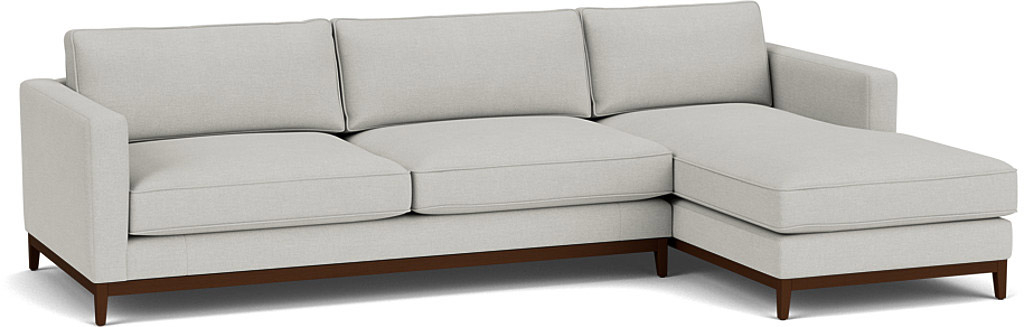 the darwin right hand chaise sofa in easy clean soft as cotton cambridge blue with dark oak feet