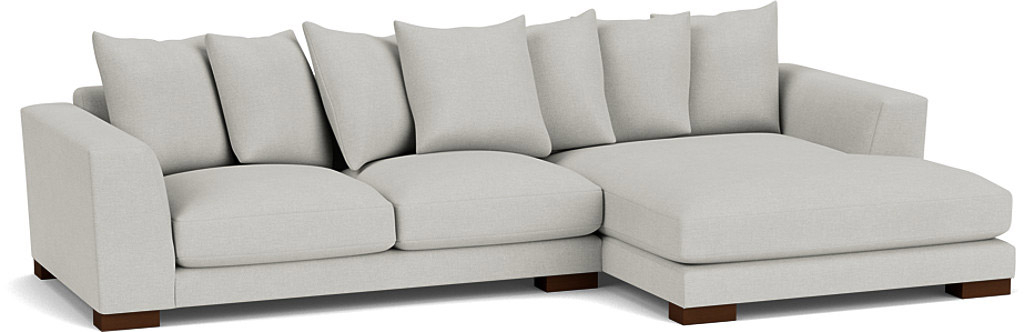 the devon chaise sofa in easy clean soft as cotton cambridge blue with dark oak feet