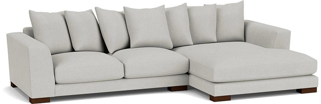 the devon chaise sofa in easy clean soft as cotton cambridge blue with dark oak feet