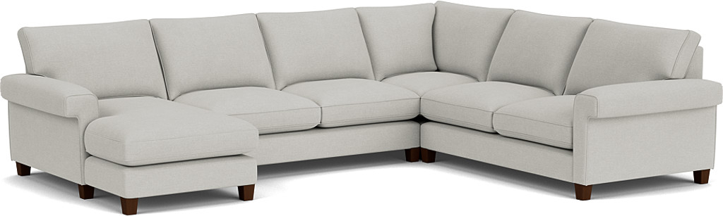 the haywood u-shaped sofa with left hand chaise in easy clean soft as cotton cambridge blue with dark oak feet