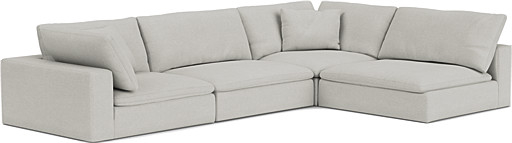 the feather extra deep corner sofa in easy clean soft as cotton cambridge blue