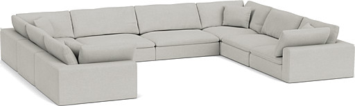the feather extra deep u shaped sofa in easy clean soft as cotton cambridge blue