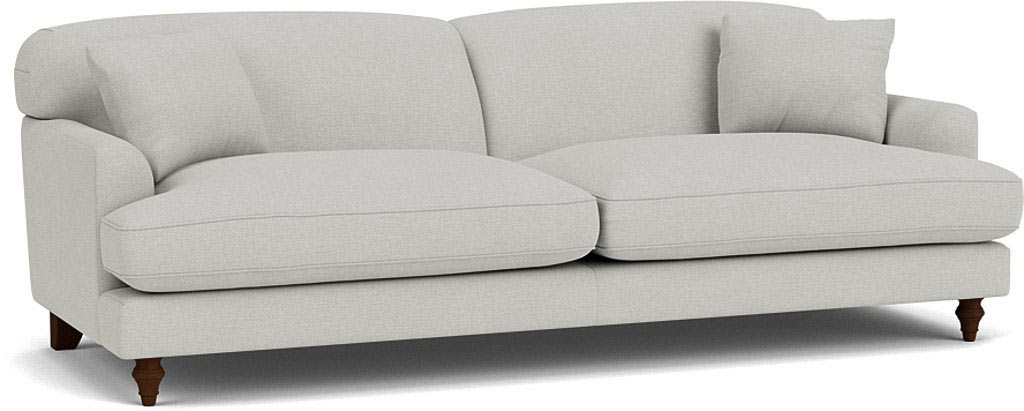 the galloway grand sofa in easy clean soft as cotton cambridge blue with dark oak feet