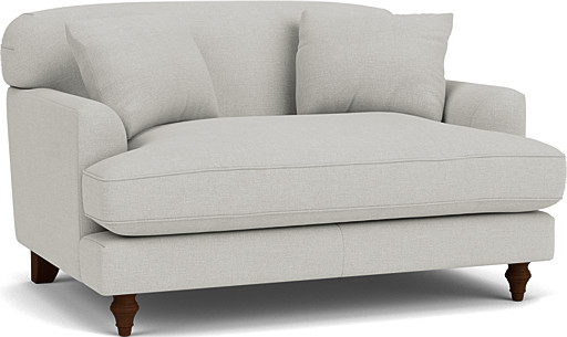 the galloway loveseat in easy clean soft as cotton cambridge blue with dark oak feet