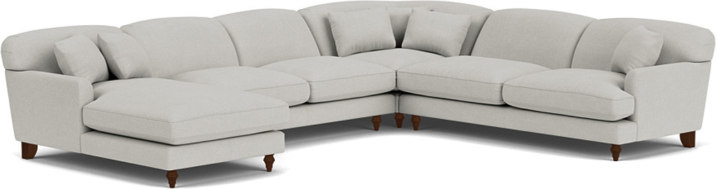 the galloway u-shaped sofa with left chaise in easy clean soft as cotton cambridge blue with dark oak feet