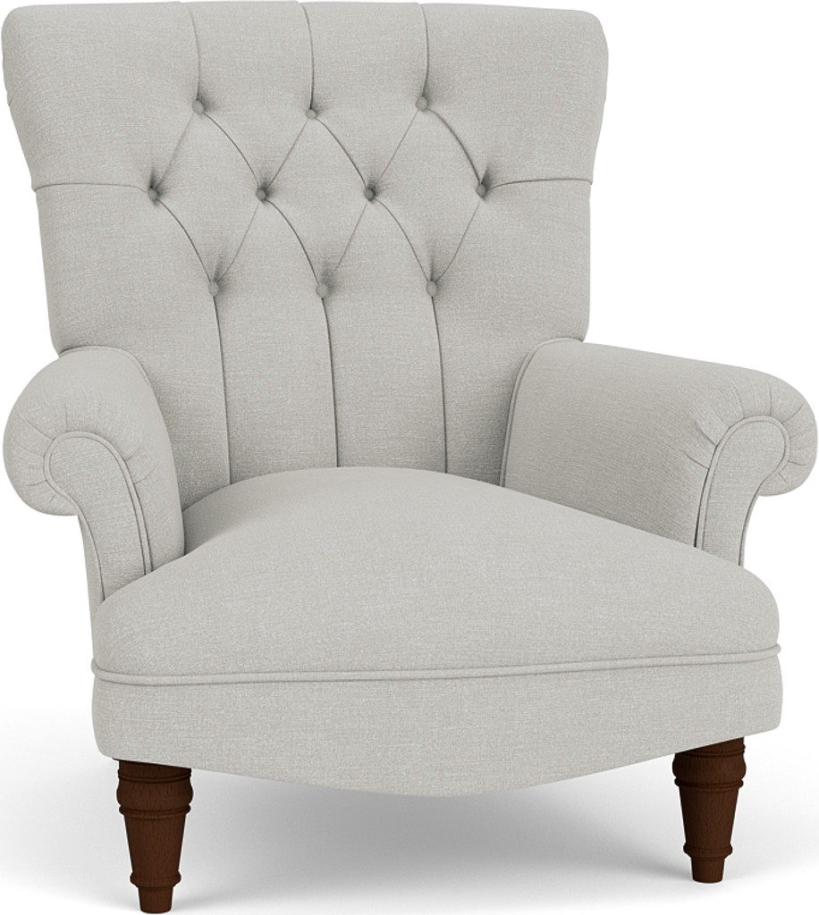 the lomond chair in easy clean soft as cotton cambridge blue with dark oak feet