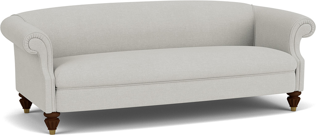 the skye grand sofa in easy clean soft as cotton cambridge blue with dark oak feet