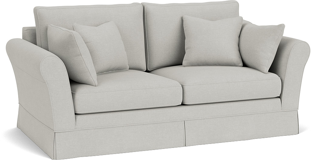 the jude medium sofa in easy clean soft as cotton cambridge blue with dark oak feet