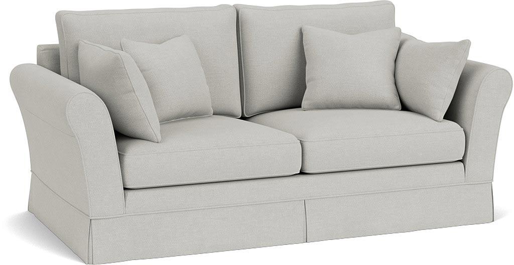 the jude medium sofa in easy clean soft as cotton cambridge blue with dark oak feet