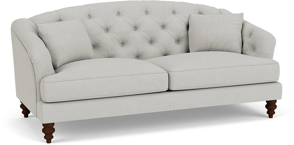 the paisly midi sofa in easy clean soft as cotton cambridge blue with dark oak feet