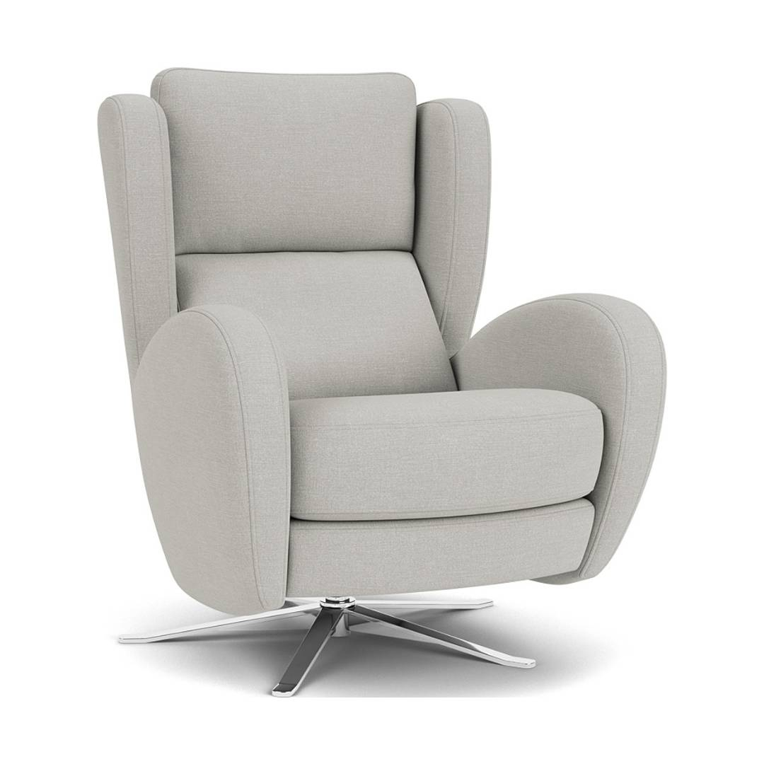 the raphael swivel chair in easy clean soft as cotton cambridge blue with chrome feet