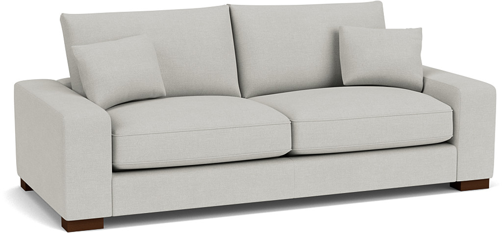 the sherwood large sofa in easy clean soft as cotton cambridge blue with dark oak feet