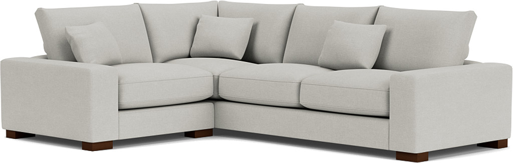 the sherwood medium corner sofa in easy clean soft as cotton cambridge blue with dark oak feet