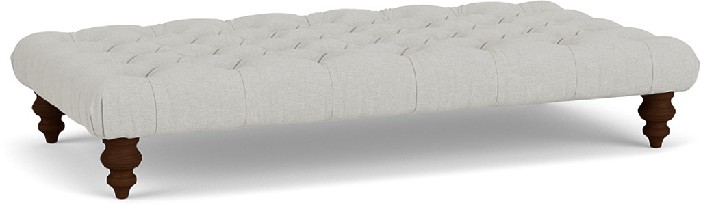the stirling footstool in easy clean soft as cotton cambridge blue with dark oak feet