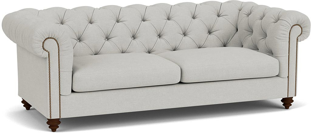 the stirling midi sofa in easy clean soft as cotton Cambridge blue with wenge feet
