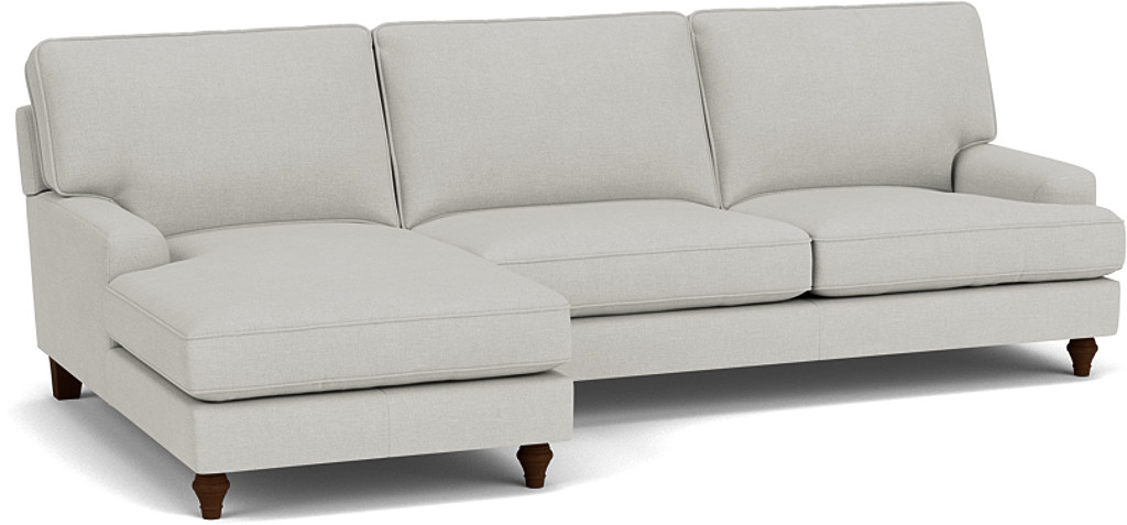 the whinfell chaise sofa in easy clean soft as cotton cambridge blue with dark oak feet