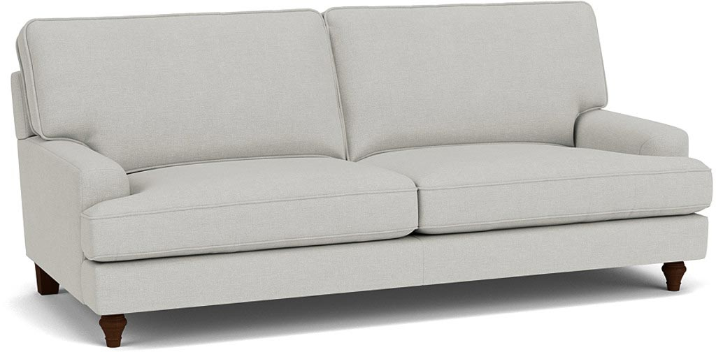 the whinfell grand sofa in easy clean soft as cotton cambridge blue with dark oak feet