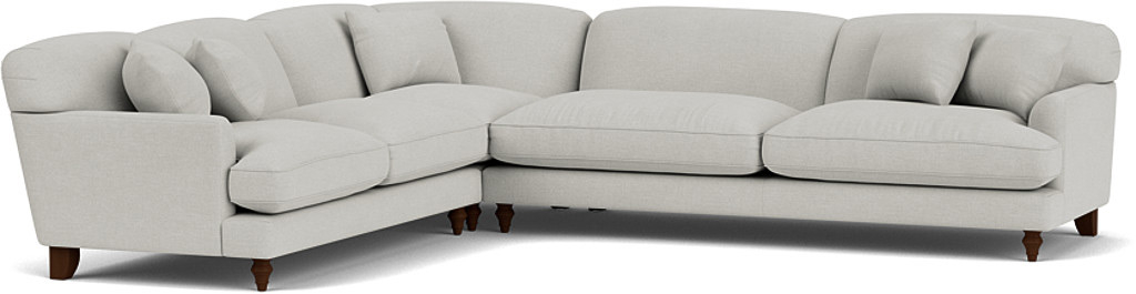 the galloway large corner sofa in easy clean soft as cotton cambridge blue with dark oak feet
