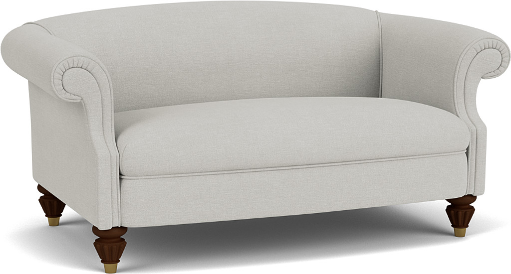 the sky petit sofa in easy clean soft as cotton cambridge blue with dark oak feet
