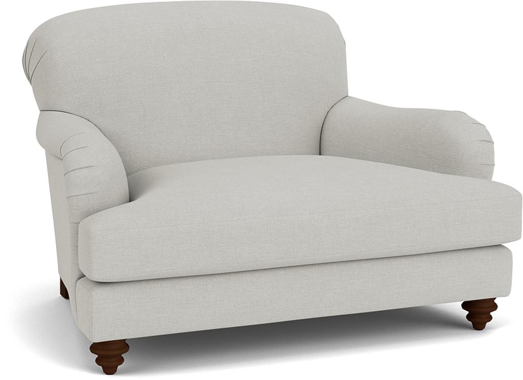 the harrow snuggler in easy clean soft as cotton cambridge blue with dark oak feet