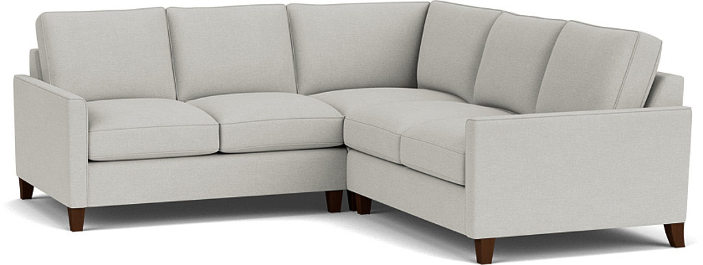 the hayes 2x2 seater corner sofa in easy clean soft as cotton cambridge blue with dark oak feet