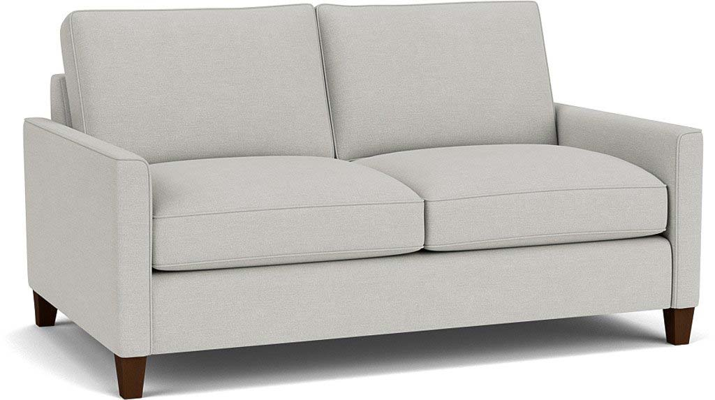 the hayes 3 seater sofa in easy clean soft as cotton cambridge blue with dark oak feet