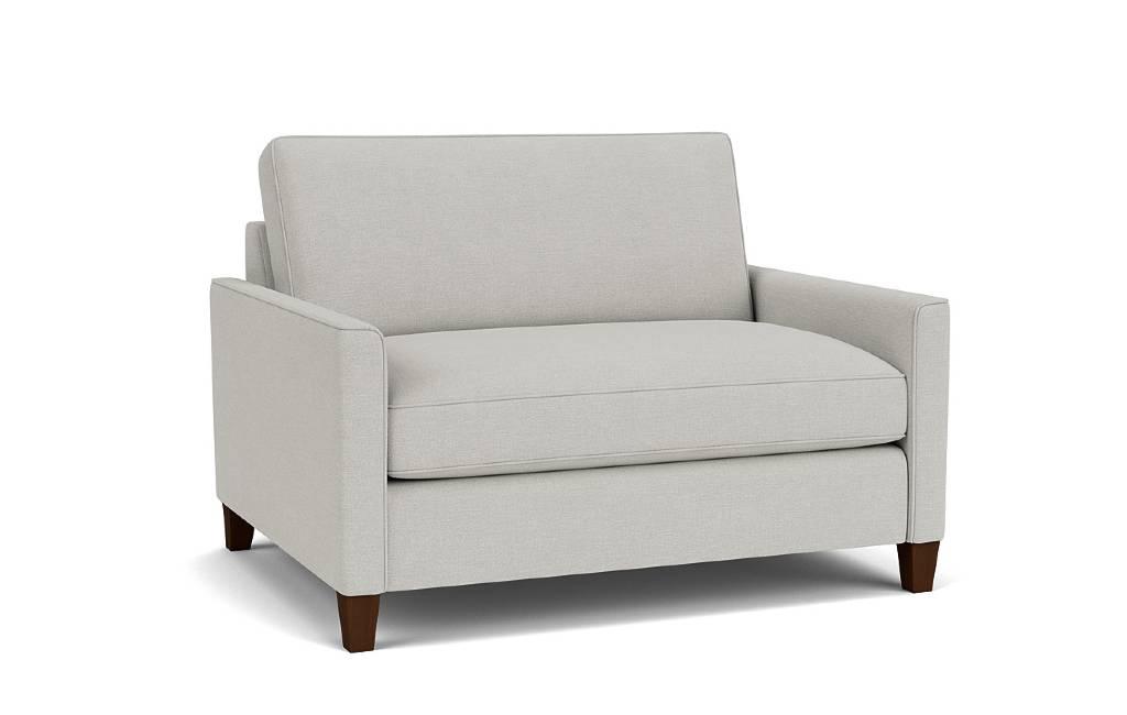 the hsyes loveseat sofa in easy clean cambridge blue with dark oak feet
