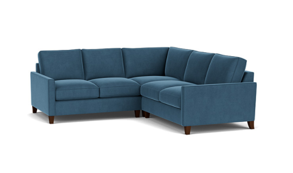 Product photograph showing Hayes 2 X 2 Seater Corner Fabric Sofa In Wedgewood