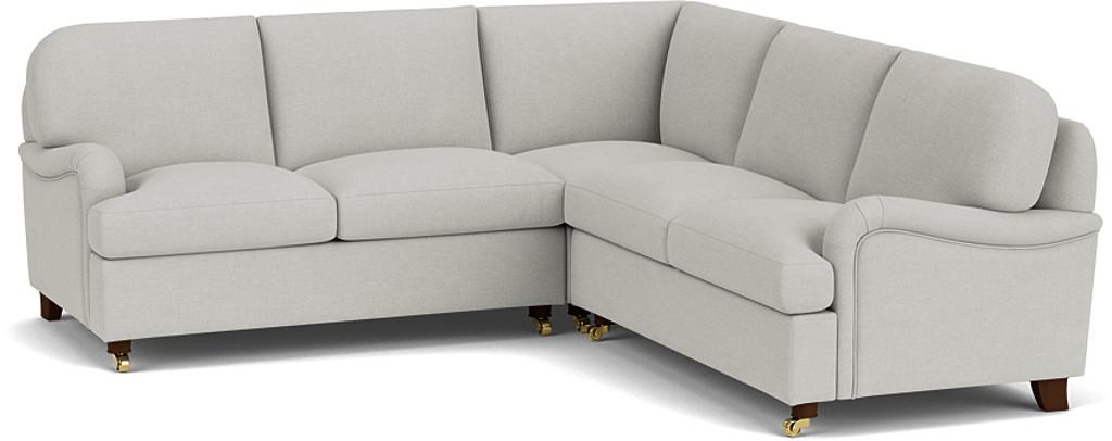 the helston 2x2 seater corner sofa in easy clean soft as cotton cambridge blue in dark oak feet