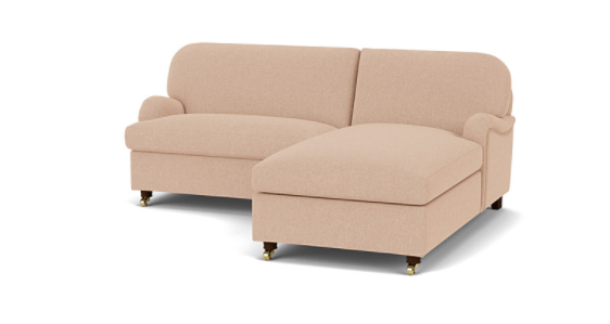 Helston Loveseat Chaise Sofa in Stain Resistant Chenille Latte