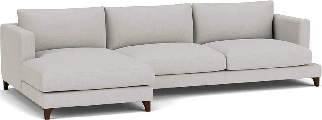 the holland grand chaise sofa in easy clean soft as cotton cambridge blue with dark oak feet