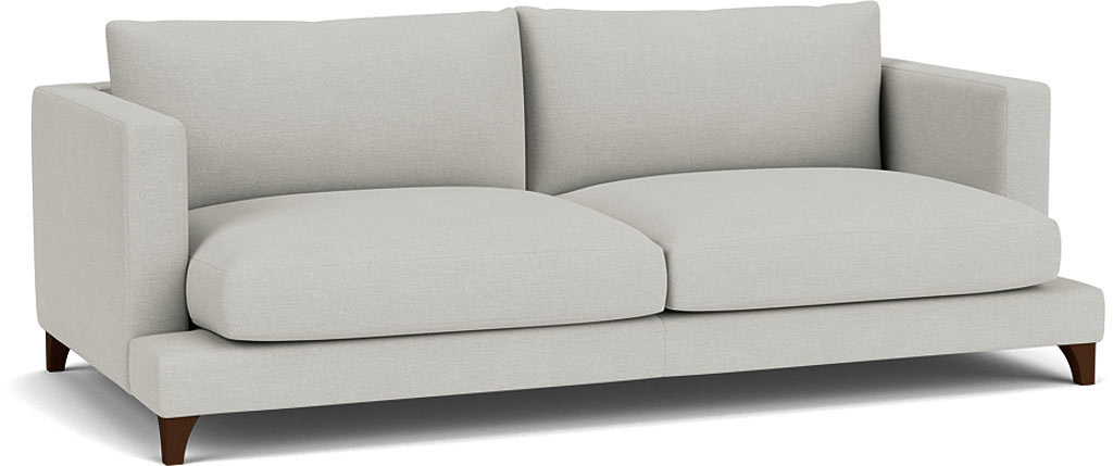 the holland grand sofa in easy clean soft as cotton cambridge blue with dark oak feet