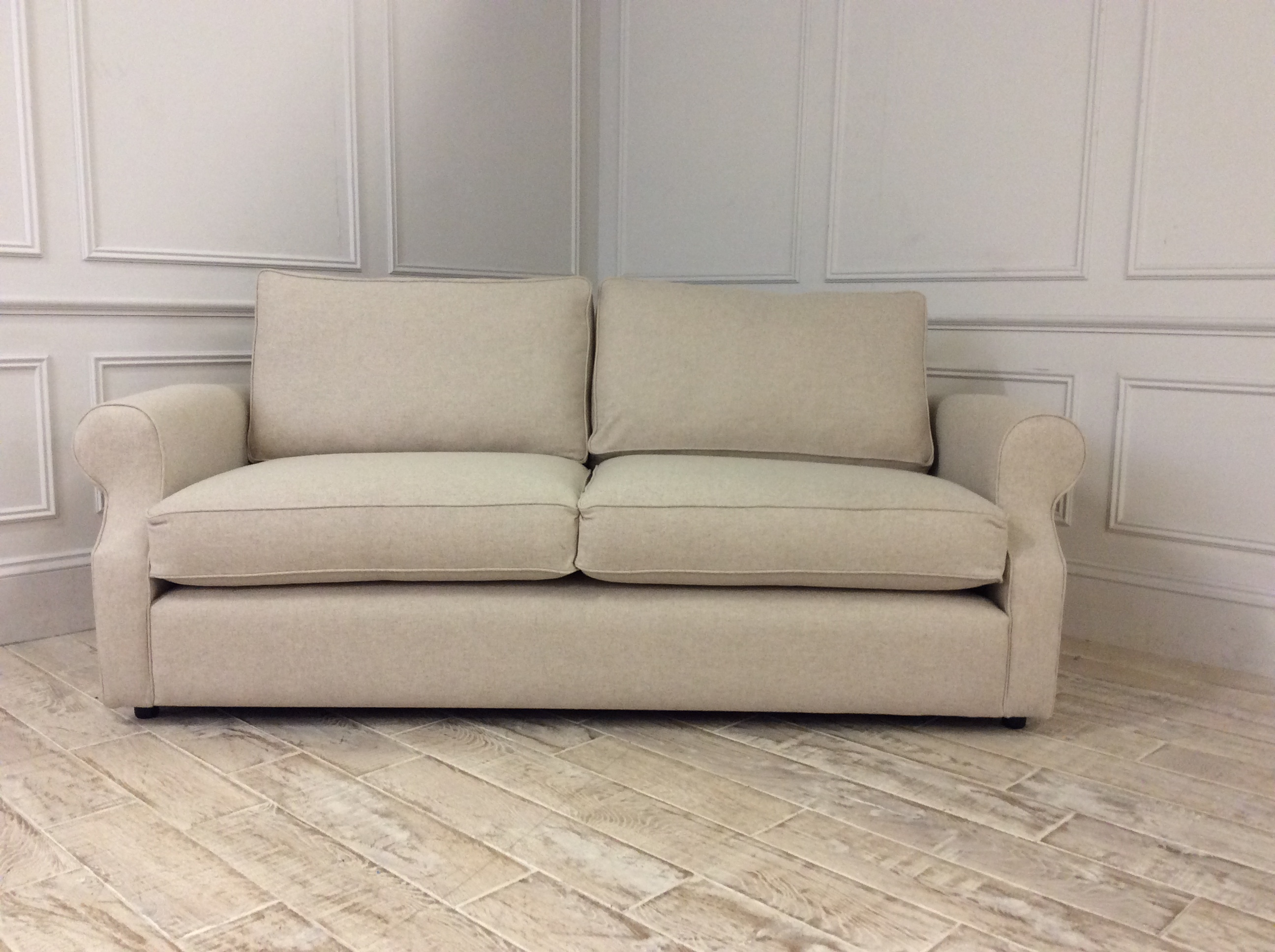 Product photograph showing Kendal 3 5 Seater Sofa In Wool - Ecru