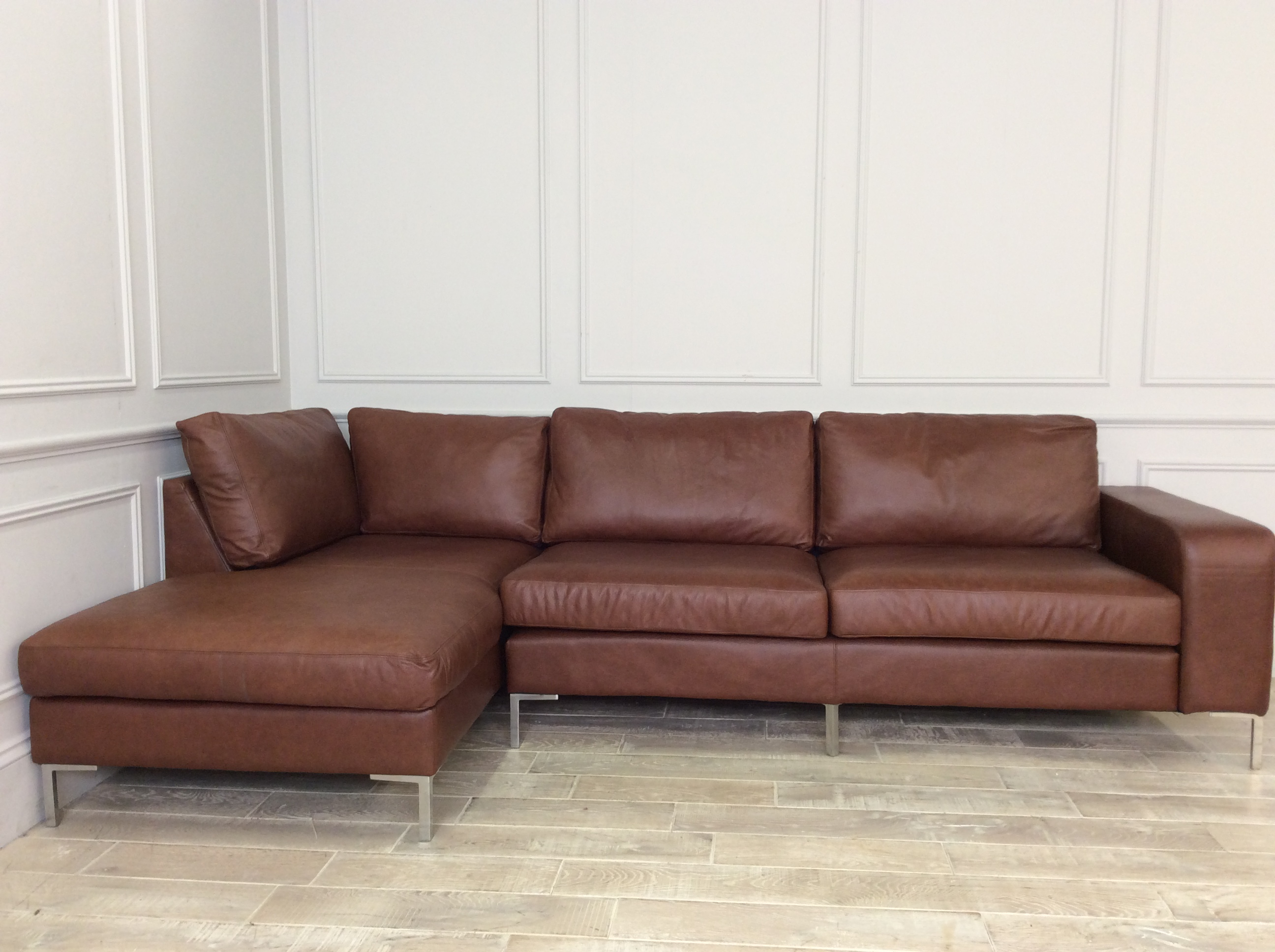Product photograph showing Kingly 3 5 Seater Sofa With Chaise In Dune Hazel