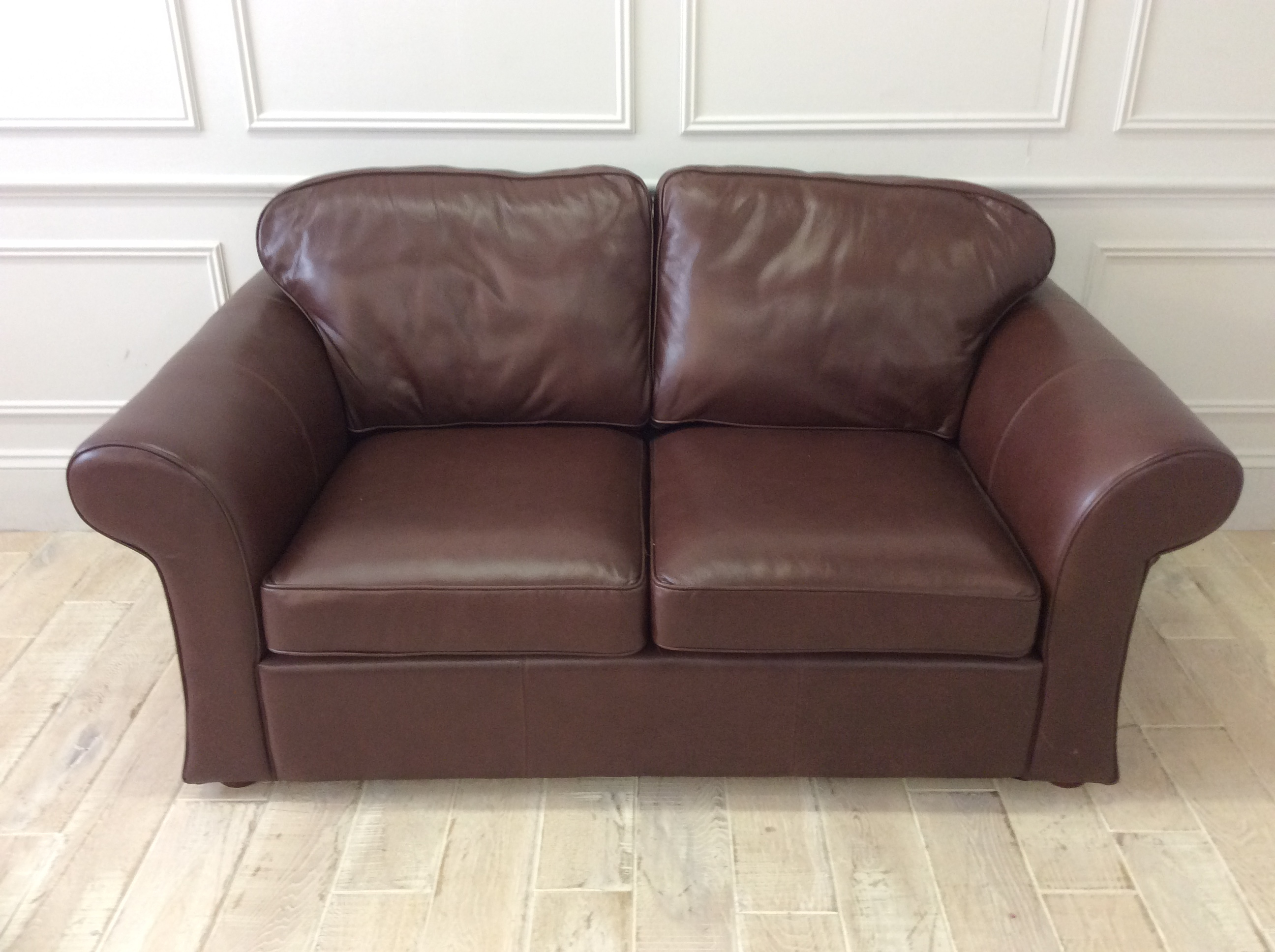 Product photograph showing Belgravia 2 5 Seater Sofa In Milton Bark Leather