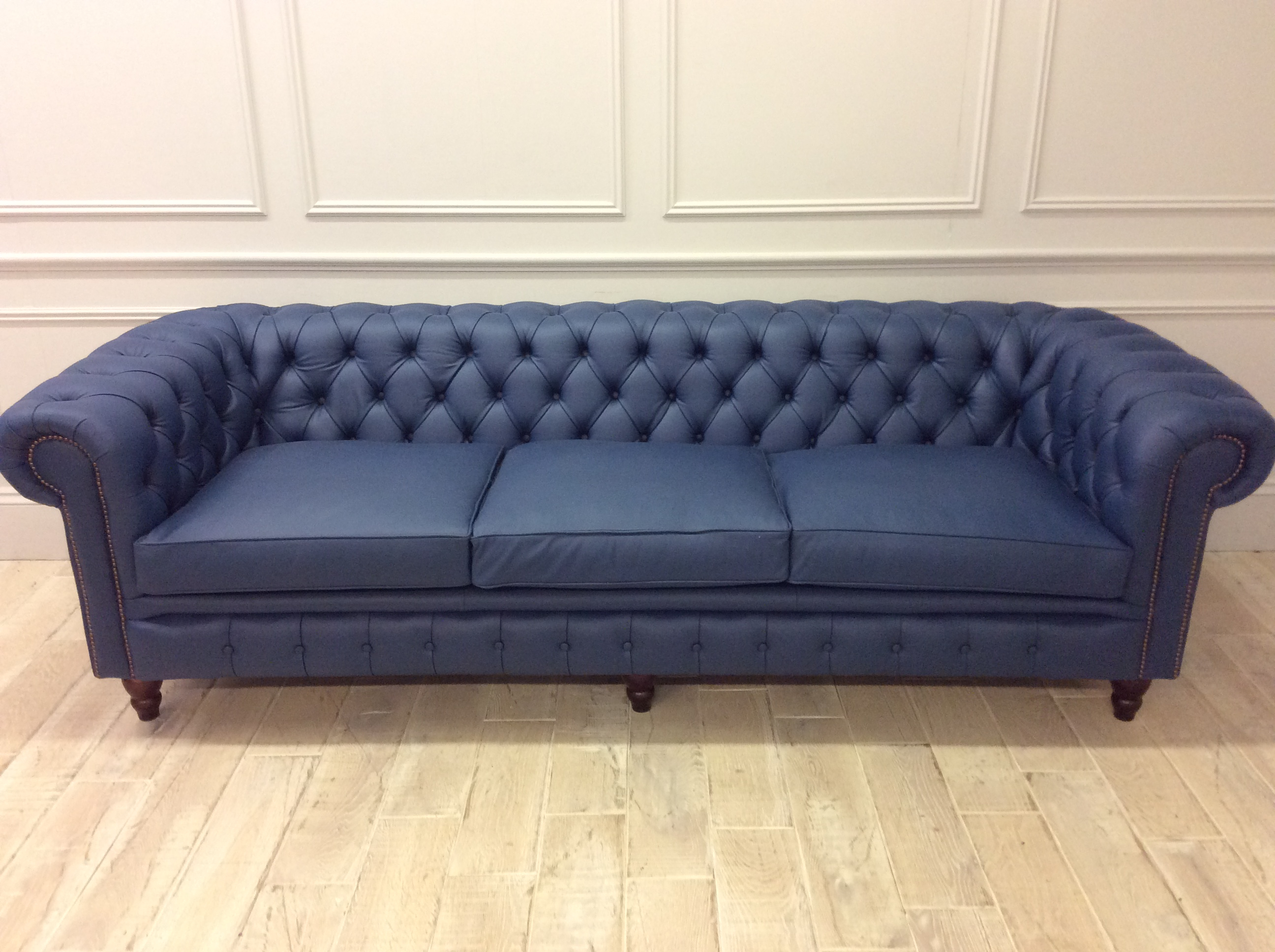 Product photograph showing Harrington 4 Seater Chesterfield Sofa In Shelly Majorca Blue Leather