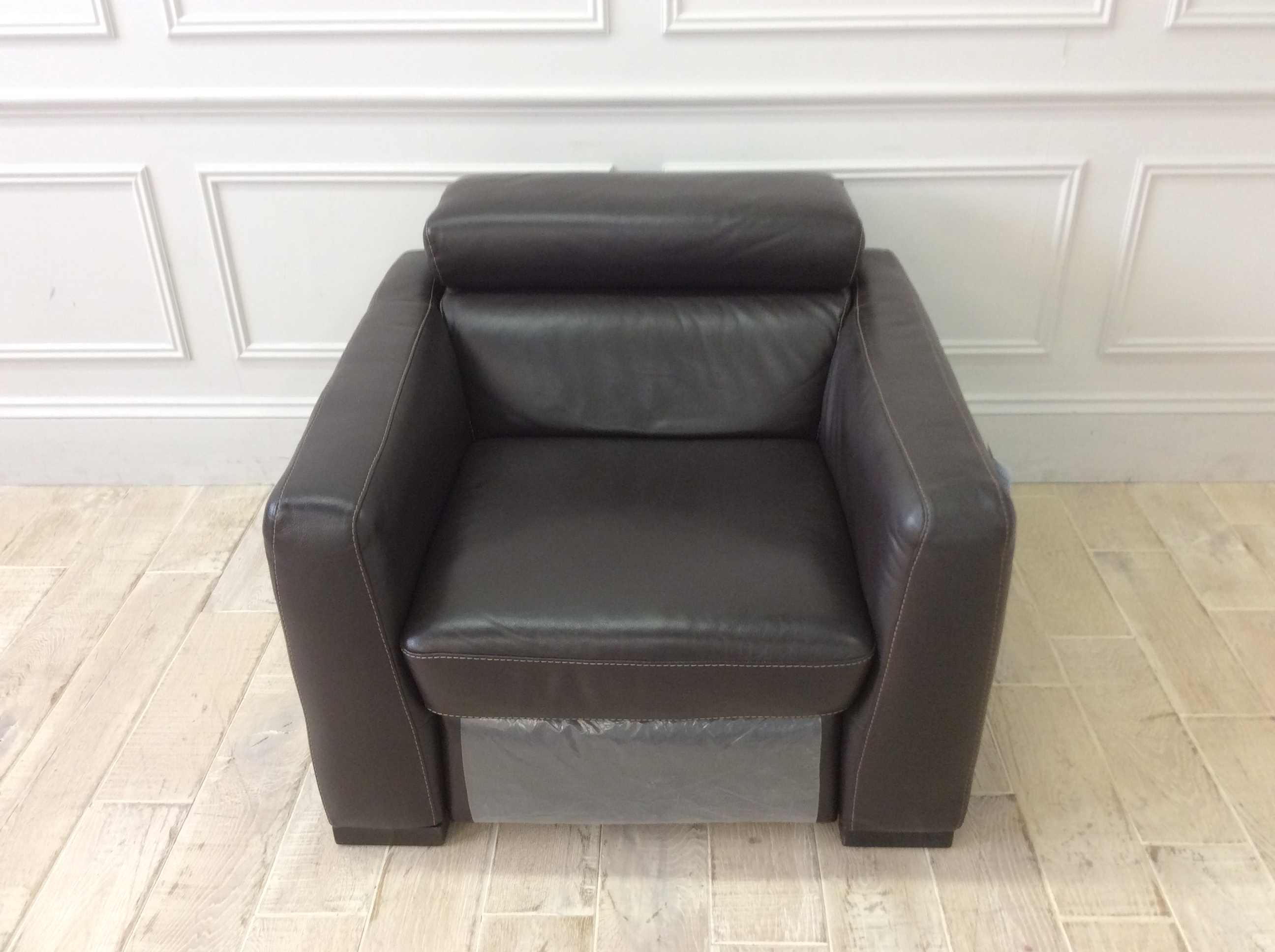 Product photograph showing Francesca Armchair With Electric Recliner In 10zc Brown Leather And Contrast Stitching