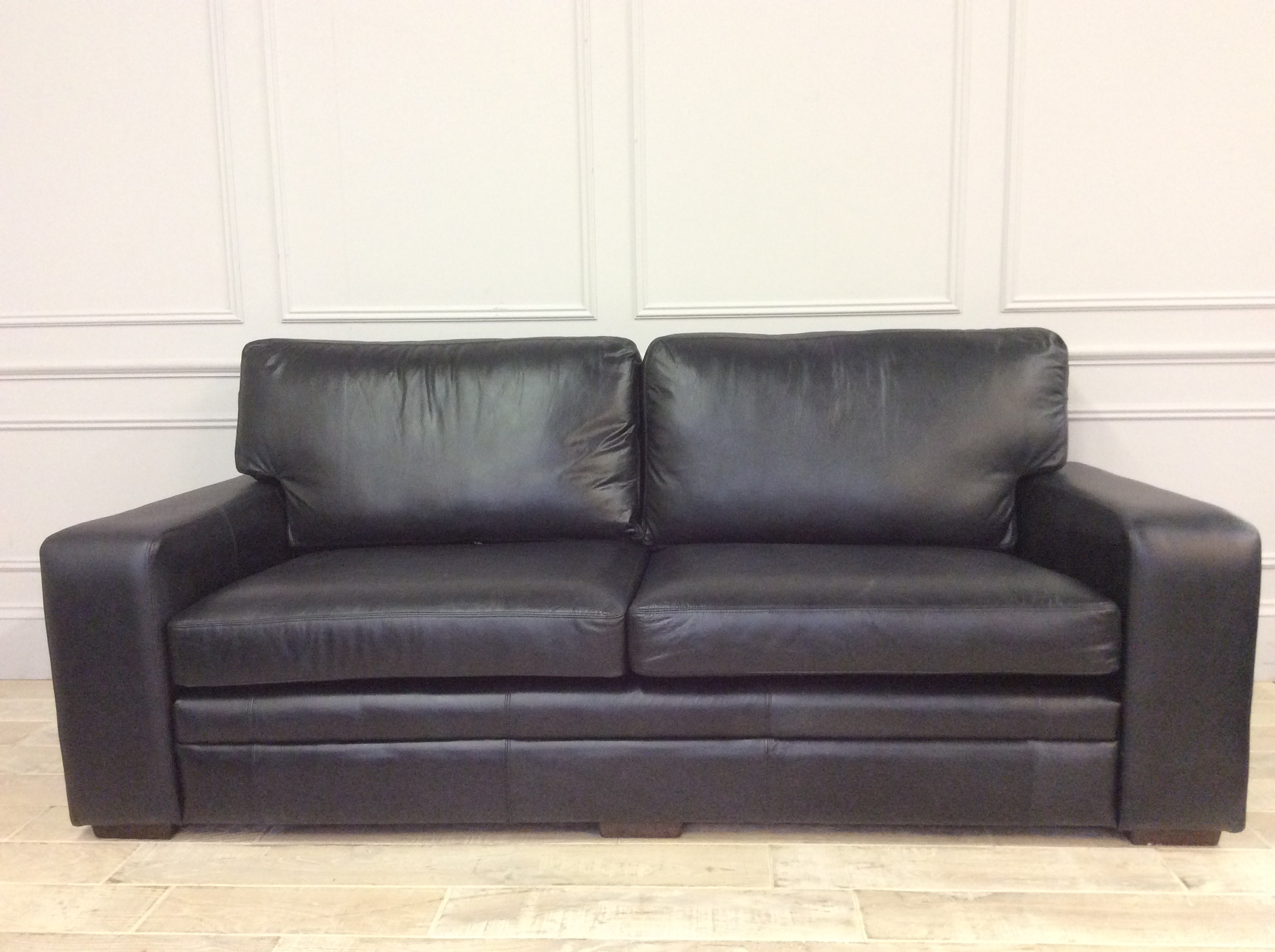 Product photograph showing Sloane 3 5 Seater Sofa Old English Waxy Coat Leather - Black